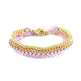 Ettika - Crystal white, cotton braid lavender and yellow gold plated Bracelet