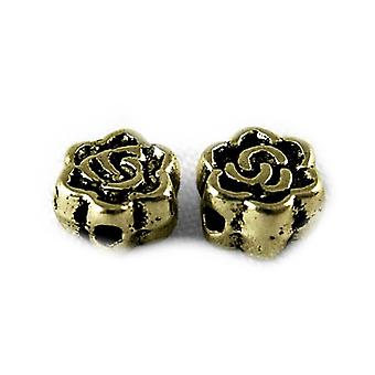 Packet 30 x Antique Bronze Tibetan 3 x 5mm Flower Spacer Beads HA17540