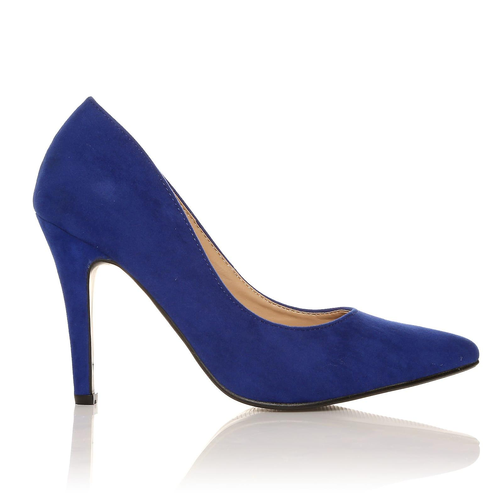 DARCY Electric Blue Faux Suede Stilleto Shoes High Heel Pointed Court Shoes Stilleto e5bff7