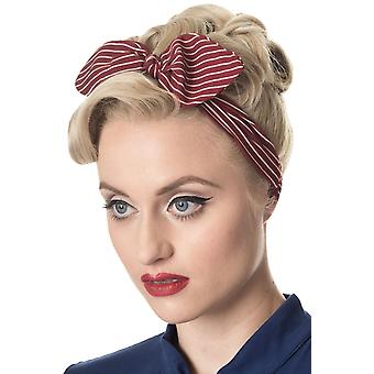 Banned Red Brandy Pinstripe Headscarf