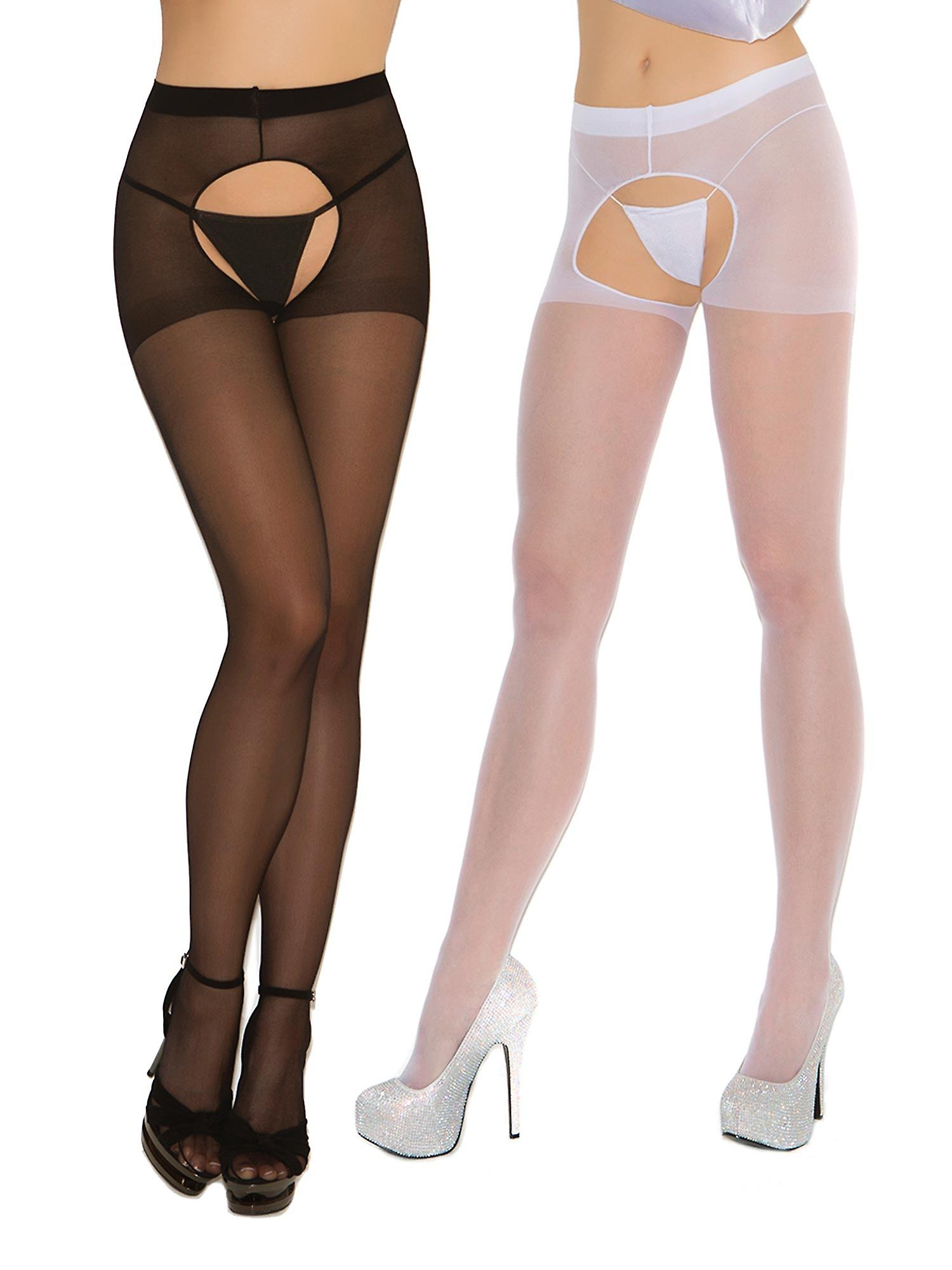 4dc76082b38 Womens Sexy Sheer Crotchless Pantyhose Hosiery Stockings Tights- 2 pack