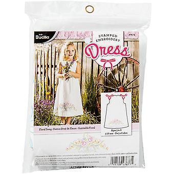 Floral Swag Pillowcase Dress Stamped Embroidery Kit-Size 3-8