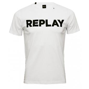 Replay djärva logotyp Crew-Neck T-Shirt, vit