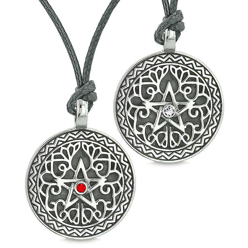 Pentacle étoile celtique amulettes aiment les Couples ou les meilleures amies des cristaux blanc rouge Colliers réglables