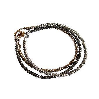 Gemshine - damer - armband uppsättning - trilogin - guld - silver - svart - pyrit - 925 Silver - guldpläterad