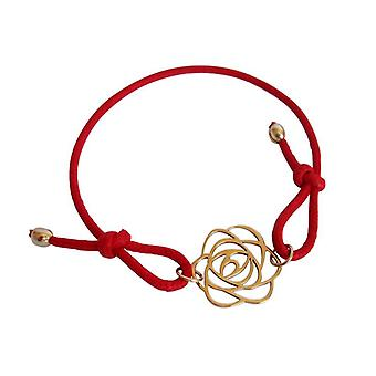 Red cotton String Bracelet Art Deco flower gilded bronze