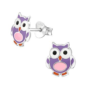 Owl - 925 Sterling Silver Colourful Ear Studs - W22223x