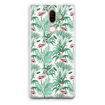 Nokia 7 Plus Transparent Case - Flamingo leaves