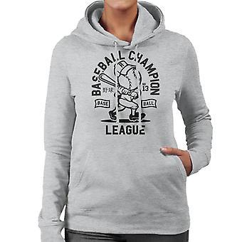 Baseball Meisterliga-Retro-Logo Damen Sweatshirt mit Kapuze