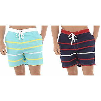 2PK Tom Franks Multi Stripe Print Beach Pool Swimming Knee Length Shorts