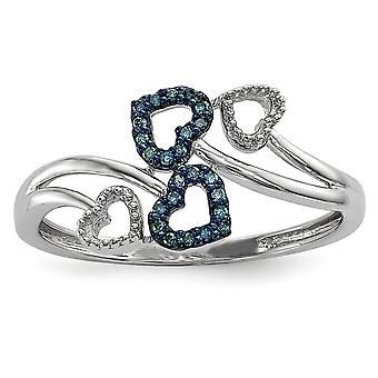 925 Sterling Silver Gift Boxed Rhodium-plated Blue and White Diamond Multi Heart Ring - Ring Size: 6 to 8