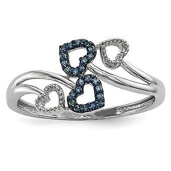Sterling Silber Geschenk Box rhodiniert Blue und White Multi Herz Diamantring - Ringgröße: 6 bis 8