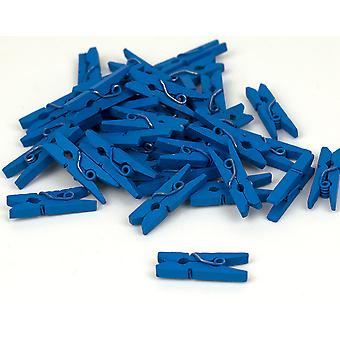36 Mini Blue Wooden Clothes Pegs | Wooden Shapes for Crafts