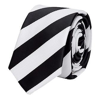 Schlips, Krawatte, Krawatten, Binder, 8cm, schwarz weiß gestreift, Fabio Farini