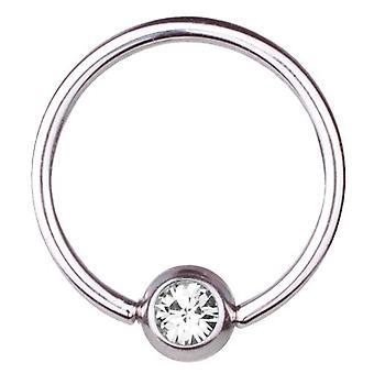 BCR Titan Piercing Ball Closure Ring 0,8 mm, SWAROVSKI Elemente weiß | 6-12 mm