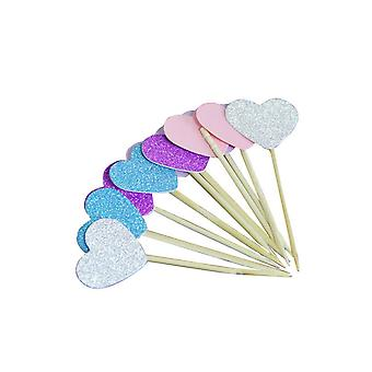 TRIXES Set of 10 Multi-coloured Glitter Heart Cake Toppers Party Supplies