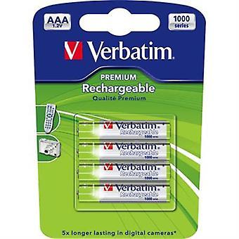 Verbatim laddningsbara batterier, AAA(LR03) 930mAh, 1,2V