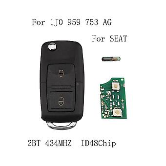 2 button remote key Fit 1J0959753AG SEAT for SEAT Leon Ibiza Toledo car key ID48 Chip 1J0 959 753 AG 434 MHz with