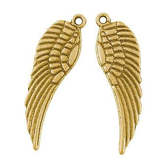 Packet 30 x Antique Gold Tibetan 9 x 30mm Angel Wings Charm/Pendant HA06385