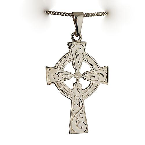 9ct Gold 40x29mm hand engraved Celtic Cross with bail on a curb Chain 16 inches Only Suitable for Children