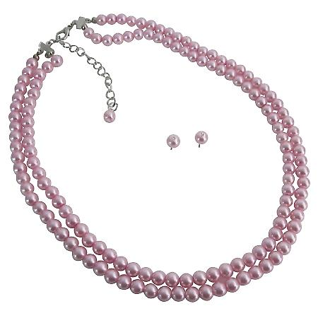 Reasonable Budget Priced Gifts Party Wedding Pink Pearls Necklace Set