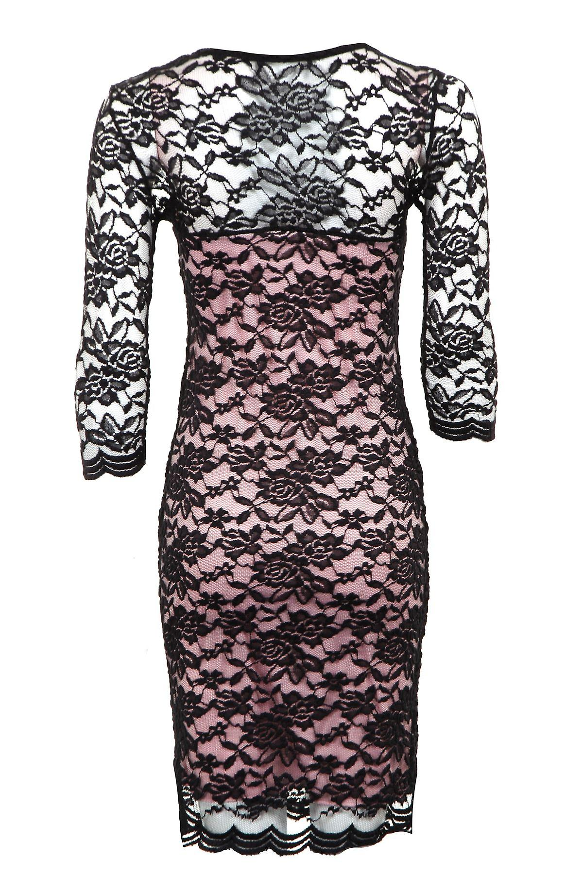 New Ladies 3/4 Sleeves Lined Floral Lace Women's Bodycon Dress