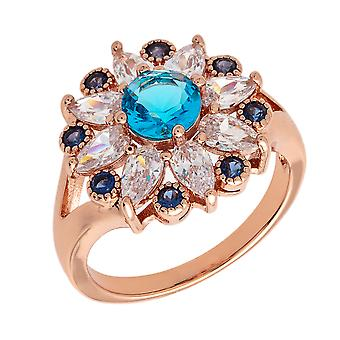 Bertha Juliet Collection Women's 18k RG Plated Light Blue Floral Statement Fashion Ring Size 8