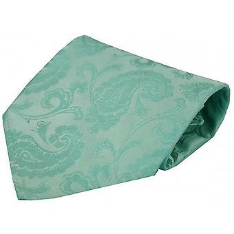 David Van Hagen Luxury Paisley Silk Handkerchief - Cyan Blue