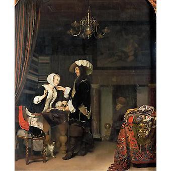Herren i butikken, Frans van Mieris, 54.4 x 42.7 cm