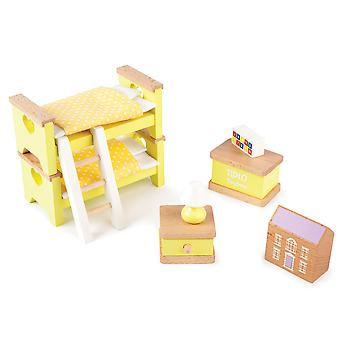 Tidlo Wooden Doll's House Children's Bedroom Furniture Play Set Accessories