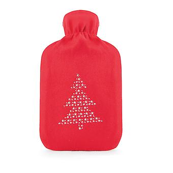Embroidered Fleece Cover 2L Hot Water Bottle: Red Xmas Tree