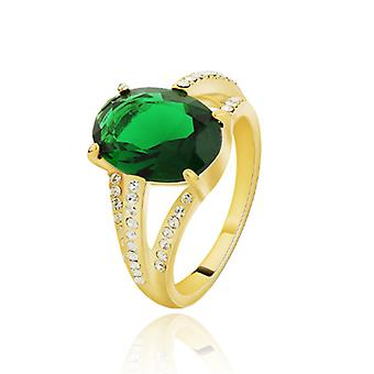 14K Gold Plated Emerald Green 4 Prong Ring