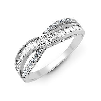 Jewelco London Solid 18ct White Gold Channel Set Baguette G SI1 0.48ct Diamond Crossover Waves Eternity Ring 5mm