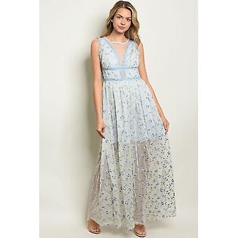 Blue with flower embroidery dress