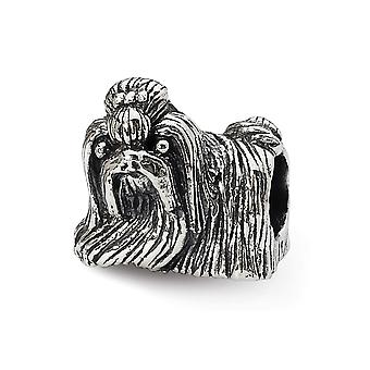925 Sterling Silver Polished Antique finish Reflections Shih Tzu Bead Charm