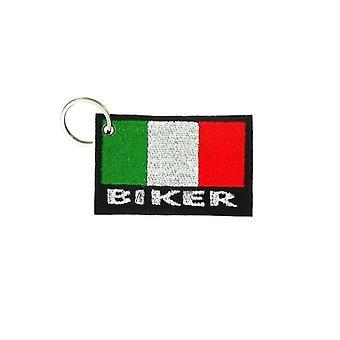 Porte Cle Cles Clef Brode Patch Ecusson Biker Motard Morale Drapeau Italie Biker