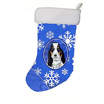 Basset Hound Winter Snowflakes Snowflakes Holiday Christmas Stocking