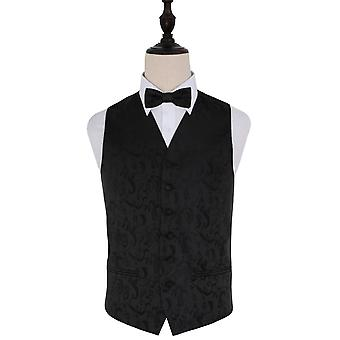 Black Passion Floral Patterned Wedding Waistcoat & Bow Tie Set
