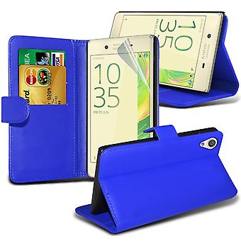 i-Tronixs Sony Xperia E5 Case PU Leather Wallet Classic Flip Cover + Screen Protector Guard -Blue