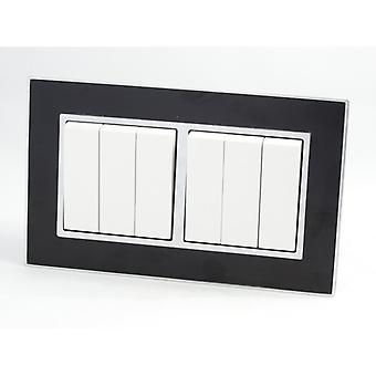I LumoS AS Luxury Black Mirror Glass Double Frame 6 Gang 2 Way Rocker Light Switches