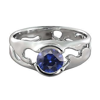 Azul zafiro 1.00 quilates anillo 14K oro blanco único solitario diseñador