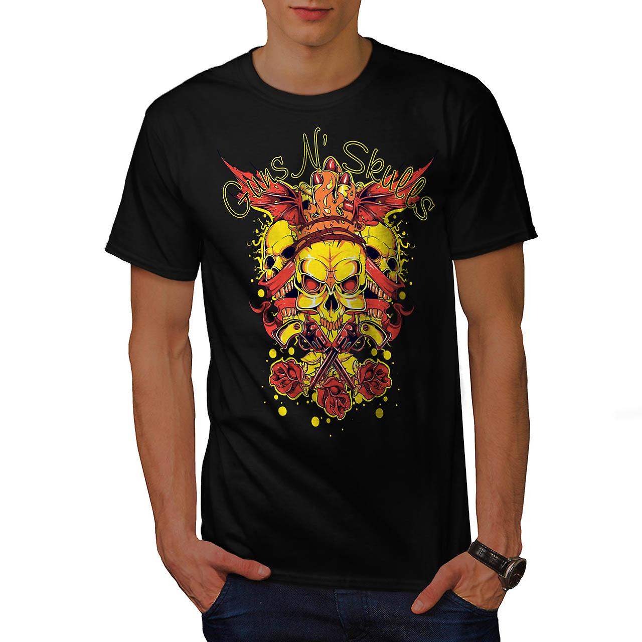 Geweren en schedels Brawl koning Demon mannen zwarte T-shirt | Wellcoda