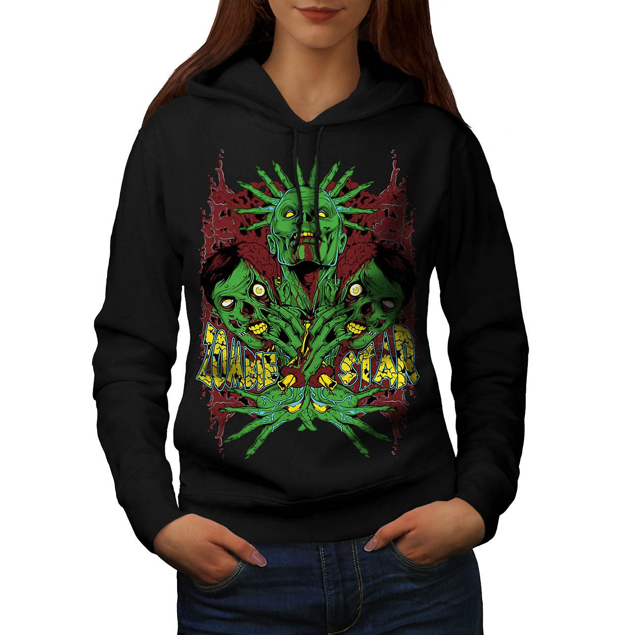 Monster Zombie Star Nightmare Women Black Hoodie | Wellcoda