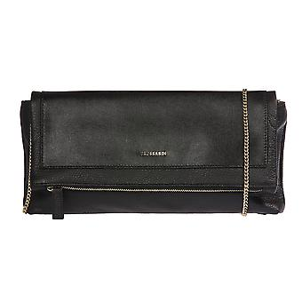 Trussardi woman's handmade handbag, clutch bag with metal chain for transportation out of 100% genuine leather shoulder Saffiano Calf-34x16x6 cm