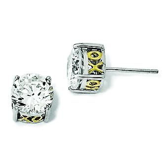Zegelring in zilver en verguld X en O 8mm CZ Stud Earrings Stud Earrings