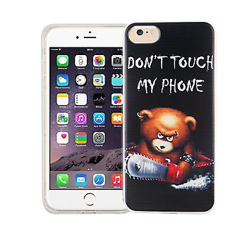 Cell phone case for Apple iPhone 7 cover case protective bag motif slim silicone TPU lettering bear with chainsaw