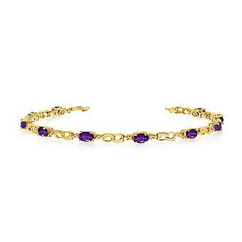 10K Yellow Gold Oval Amethyst and Diamond Link Bracelet