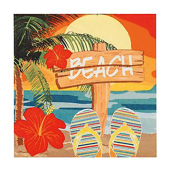 Hawaiian Pack of 12 Paper Napkins Beach Party Tableware Supplies