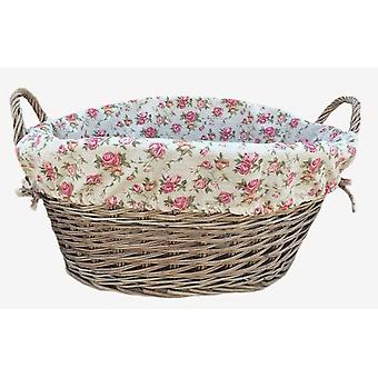 Antique Wash Finish Lined Wash Basket With Garden Rose Lining