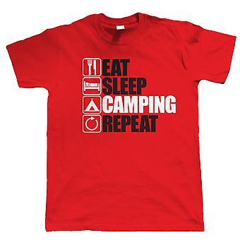 Vectorbomb, äta sömn Camping upprepa, Mens rolig, Utomhus T Shirt (S till 5XL)